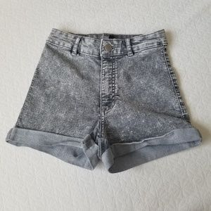 H&M Gray High-waisted Distressed Jean Shorts